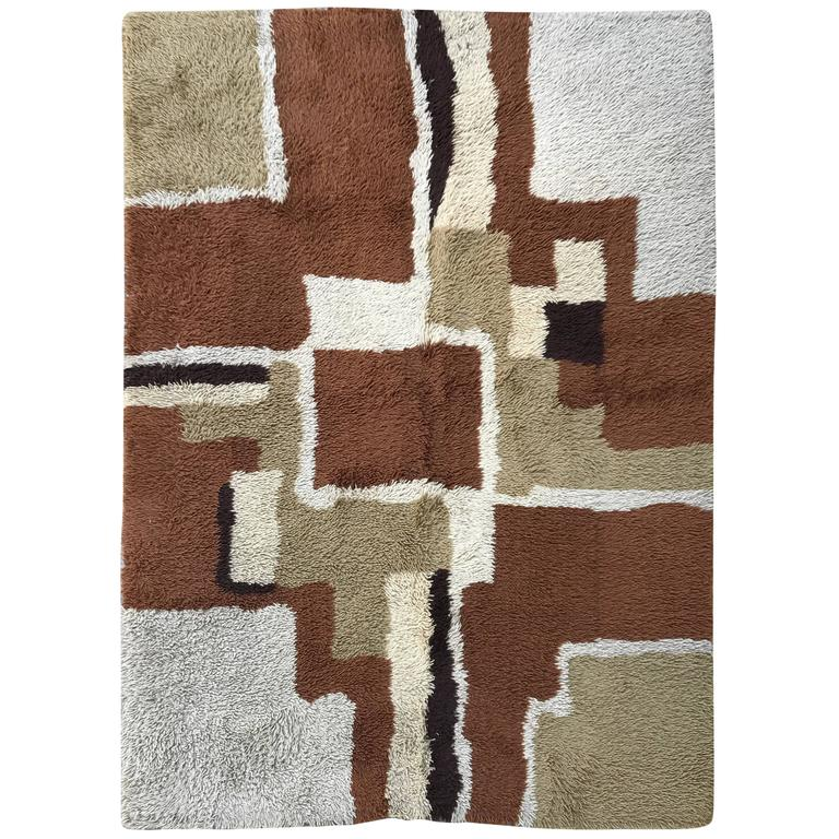 Vintage Color Blocked Shag Rya Rug For Sale At 1stdibs