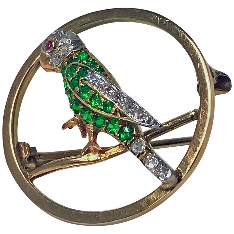 Demantoid, Diamond and Ruby Parrot Pin, circa 1920 For Sale