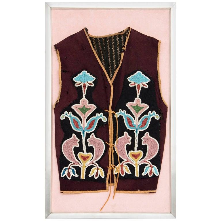 Antique Framed Native American Beaded Vest, Prairie 'Plains Indian'