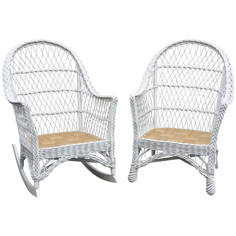 Vintage Bar Harbor Wicker Chair and Rocker