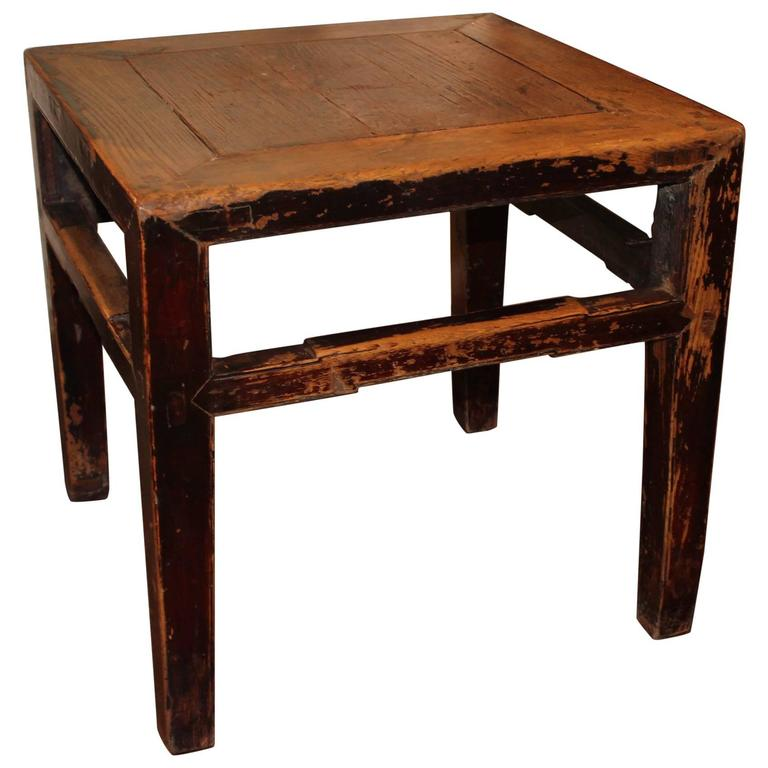 Antique Elm End Table, in Original Paint Patina