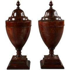 Pair of Large Walnut Late 18th Century English Wine Coolers