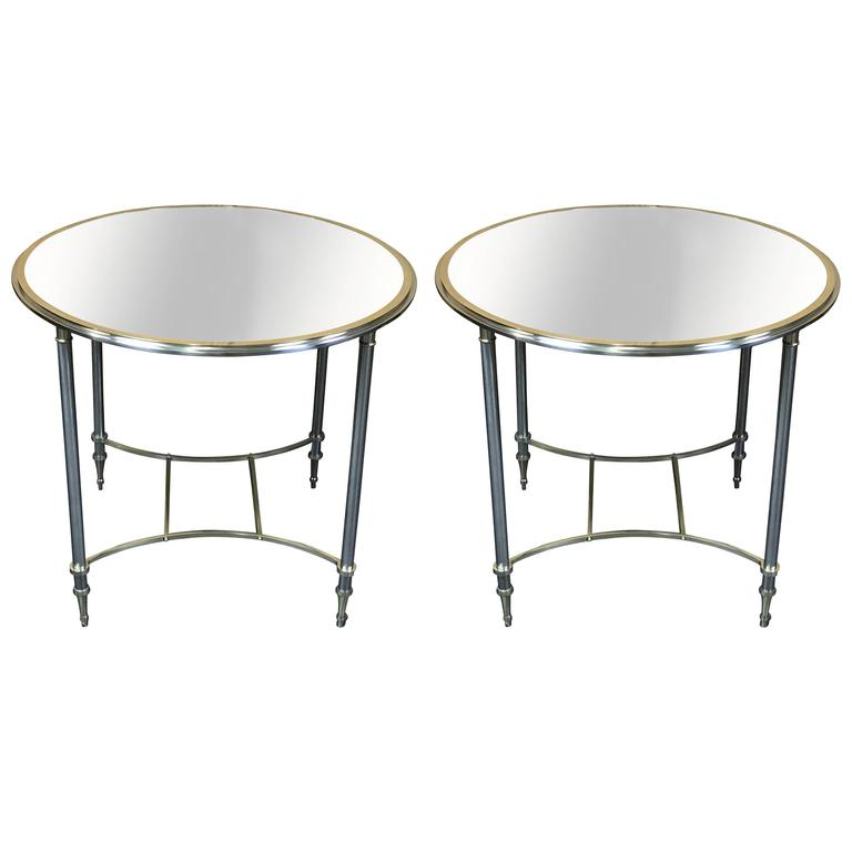 Large Pair of Maison Jansen Brass and Chrome Gueridon with Mirrored Tops