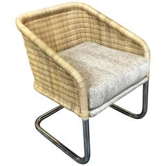 Single Martin Visser Wicker and Chrome Cantilever Club Chair