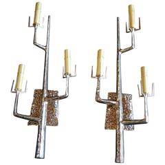Pair of Polished Bronze Tree Sconces by Felix Agostini