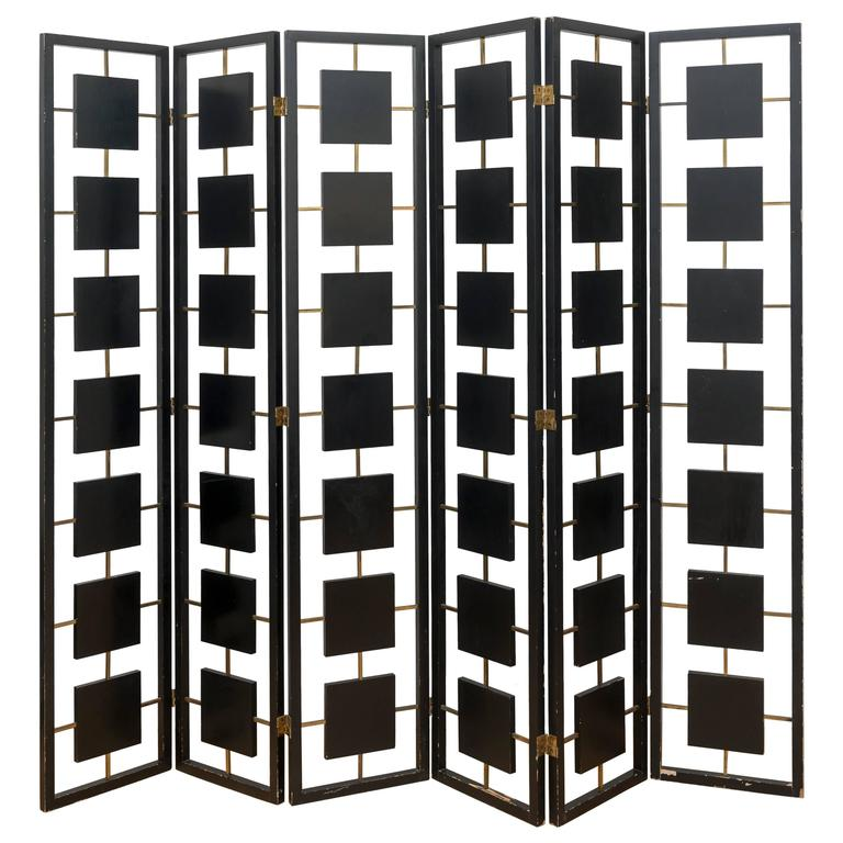 Brass and Black Lacquer Six-Panel Screen 1