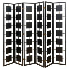 Brass and Black Lacquer Six-Panel Screen