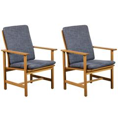 Single Danish Oak Lounge Chairs by Børge Mogensen for Fredericia Stolefabrik