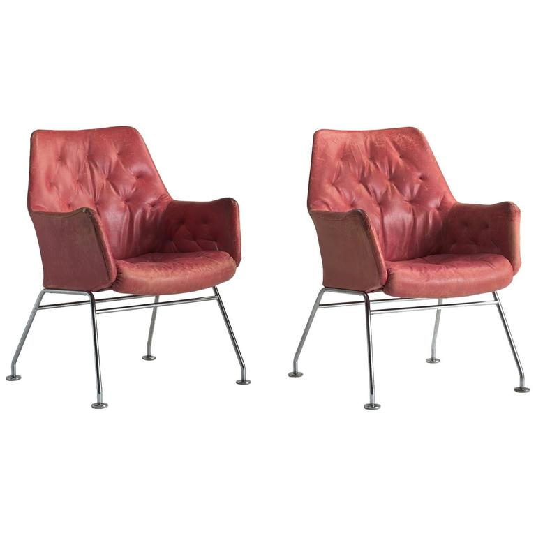 Red Leather Armchairs by Bruno Mathsson, circa 1960 1