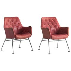 Red Leather Armchairs by Bruno Mathsson, circa 1960