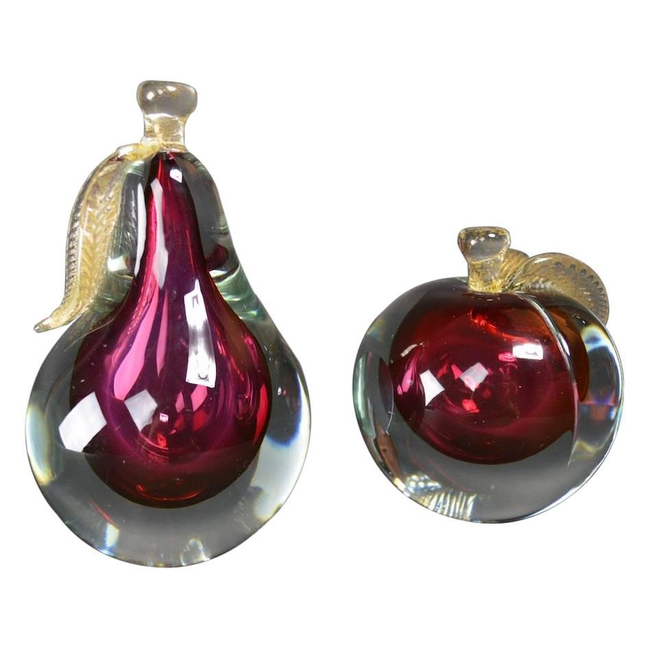 Murano Glass Fruit Bookends by Barbini