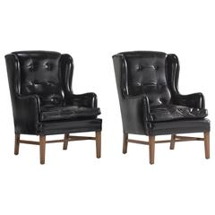 Black Leather Wing Armchairs, circa 1950