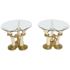 Hollywood Regency Pair of Side Tables Faux Ivory and Bronze by Valenti, Spain