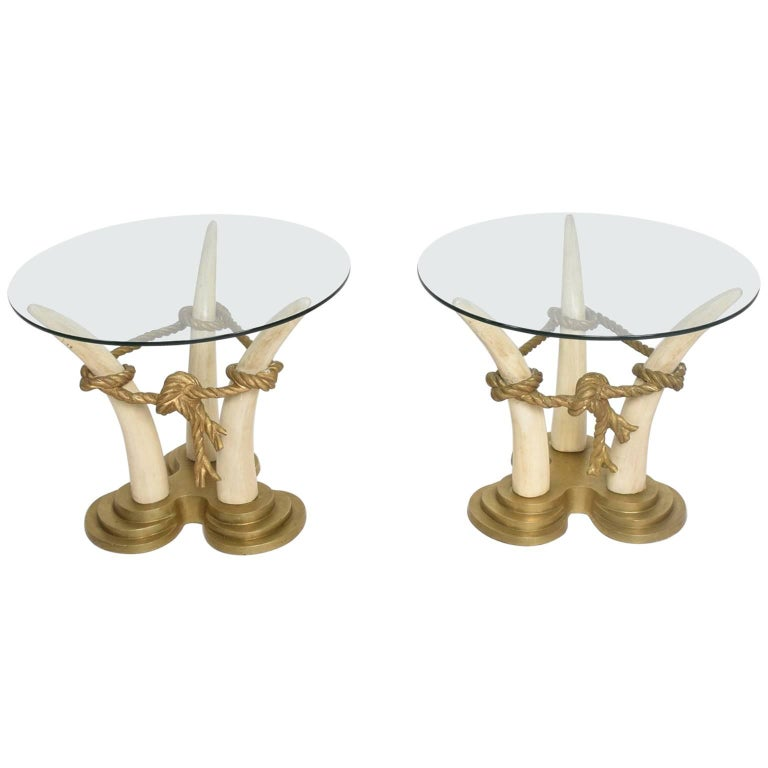 Hollywood Regency Pair of Side Tables Faux Ivory and Bronze by Valenti, Spain For Sale