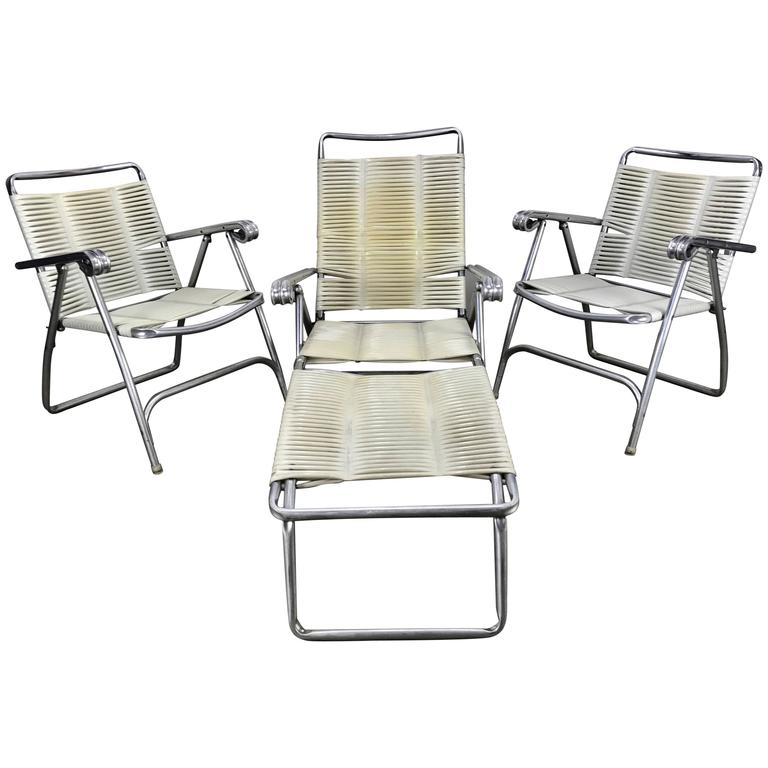 Three Piece Aluminium And Plastic Wrap Outdoor Patio Or Pool Seating For Sale At 1stdibs