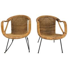 Pair of Mid-Century Modern Wicker and Iron Lounge Chairs, Garden or Patio