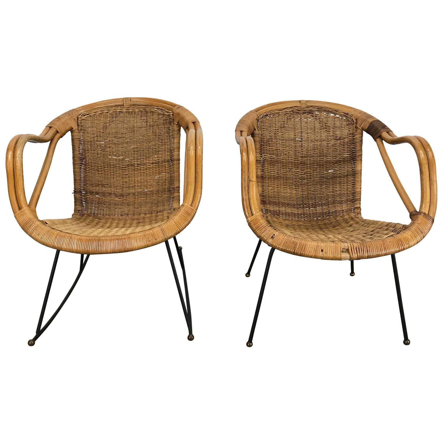 pair of midcentury modern wicker and iron lounge chairs garden or patio. midcentury modern harvey probber wicker patio set pair of basket