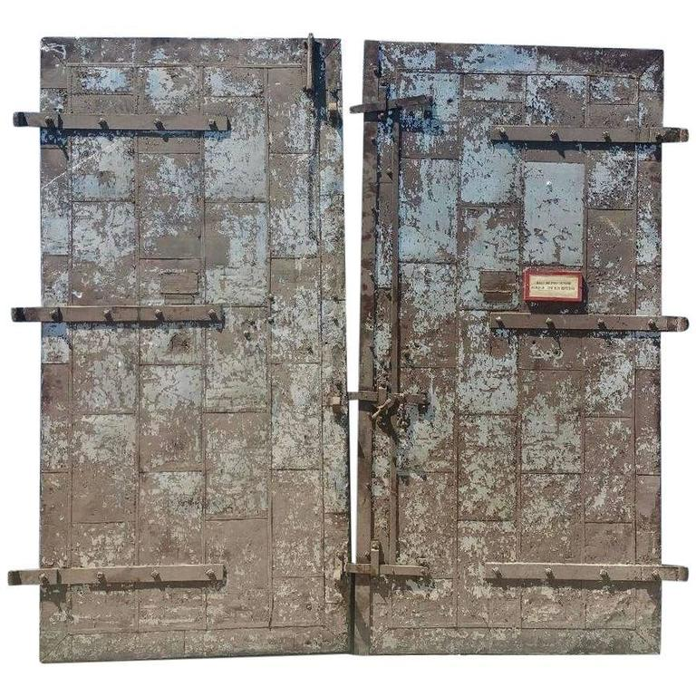 Turn of the Century Architectural Factory Tin Clad Fire Doors For Sale  sc 1 st  1stDibs & Turn of the Century Architectural Factory Tin Clad Fire Doors For ...