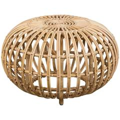 Small Rattan Ottoman by Franco Albini, re-edition