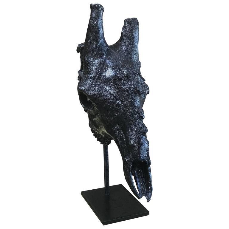 Giraffe Resin Skull with Leather Pedestal For Sale