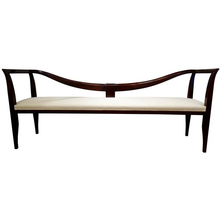 Italian 1939 Dark Brown Upholstered Long Bench or Settee by Emilio Lancia For Sale