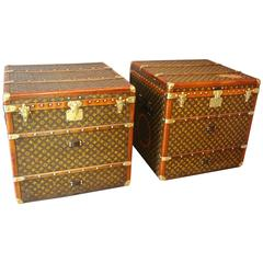 Pair of Louis Vuitton Monogramm Cube Steamer Trunks, Malles Louis Vuitton