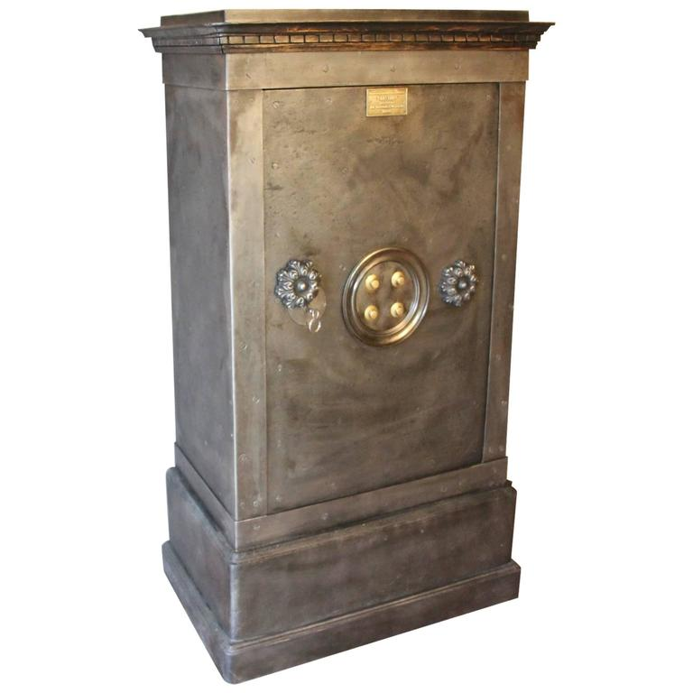 Large Black Steel, Iron and Wood Safe with Key and Working Combination