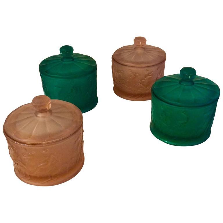 Set Of Four Art Deco Murano Glass Cylinder Bo Venini 1930