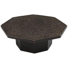 Black Octagonal Stone Look, 1970 Cocktail Table in Resin