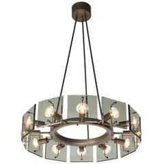 Rare Shaped Round Brass, Metal and Glass Chandelier