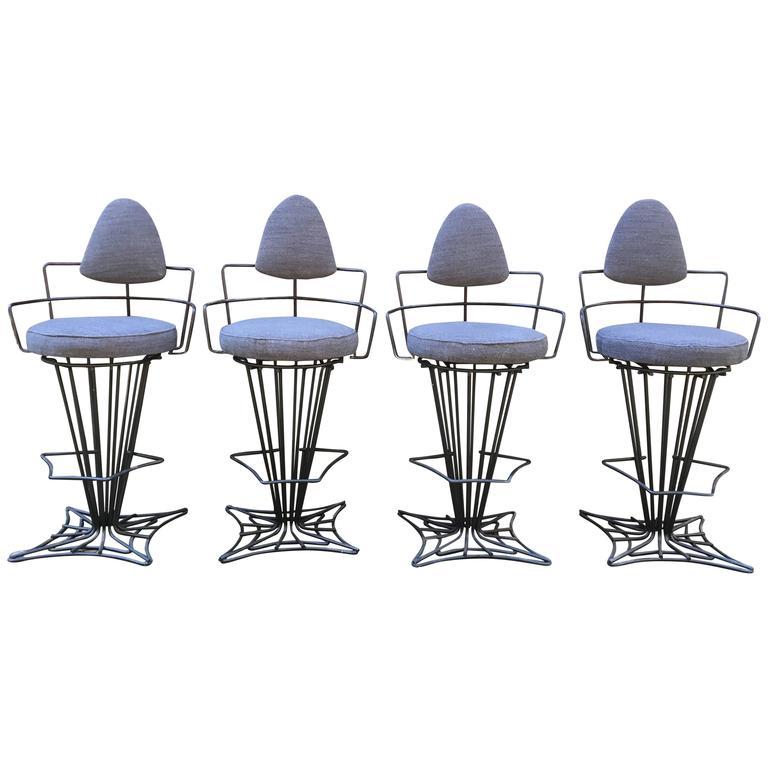 Set of Four Iron Swivel Stools