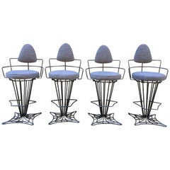 Set of Four Iron Swivel Stools