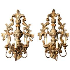 Florentine Pair of Giltwood Triple Arm Wall Lights