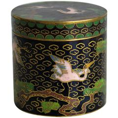 Small, Chinese Cloisonné Lidded Box, Pink Cranes or Herons in Trees, circa 1910