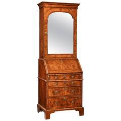 Queen Anne Narrow Walnut Bureau Bookcase