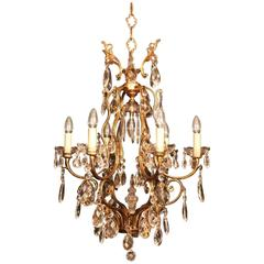 French Gilded Seven-Light Birdcage Antique Chandelier