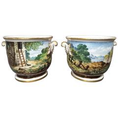 Pair of Georgian English Cache Pots, Hand-Painted and Signed