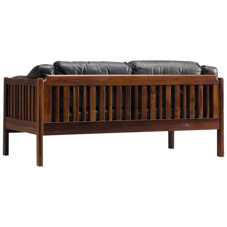Rosewood and Black Leather Two-Seat Sofa