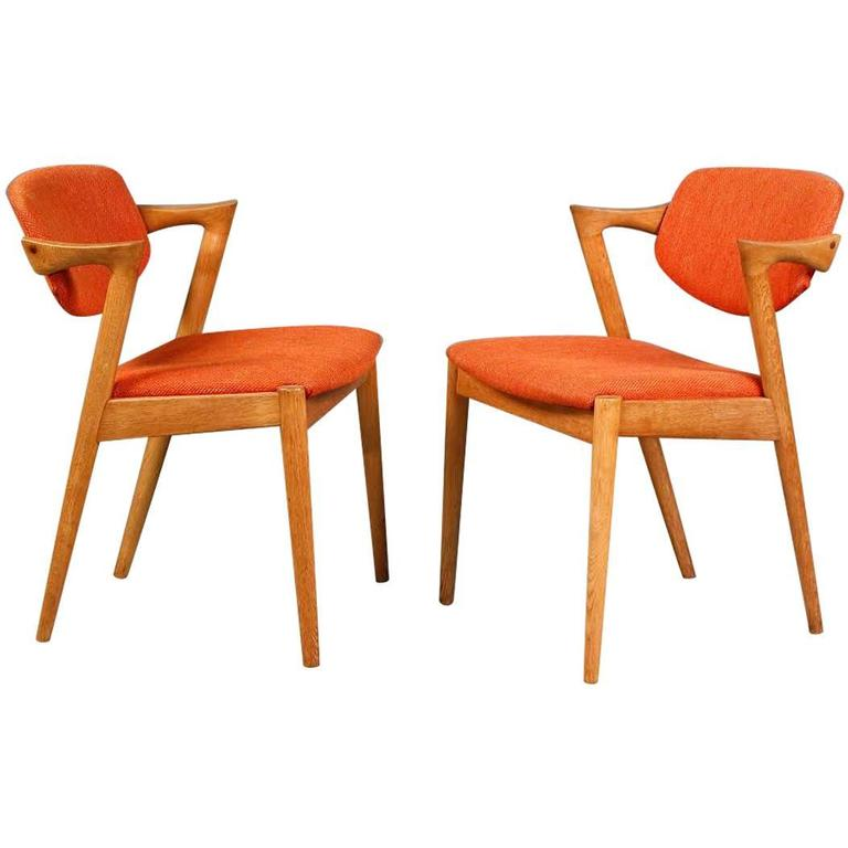 S Two Kai Kristiansen Model  Dining Chairs In Oak And Orange Fabric For Sale