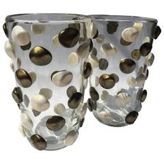 Pair of Signed Costantini, Bronze and White Dotted Murano Vases