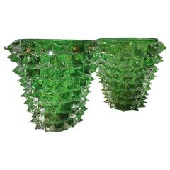Pair of Signed Costantini, Green Murano Rostrati Vases