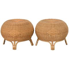 Scandinavian Pair of Rattan and Bamboo Stools