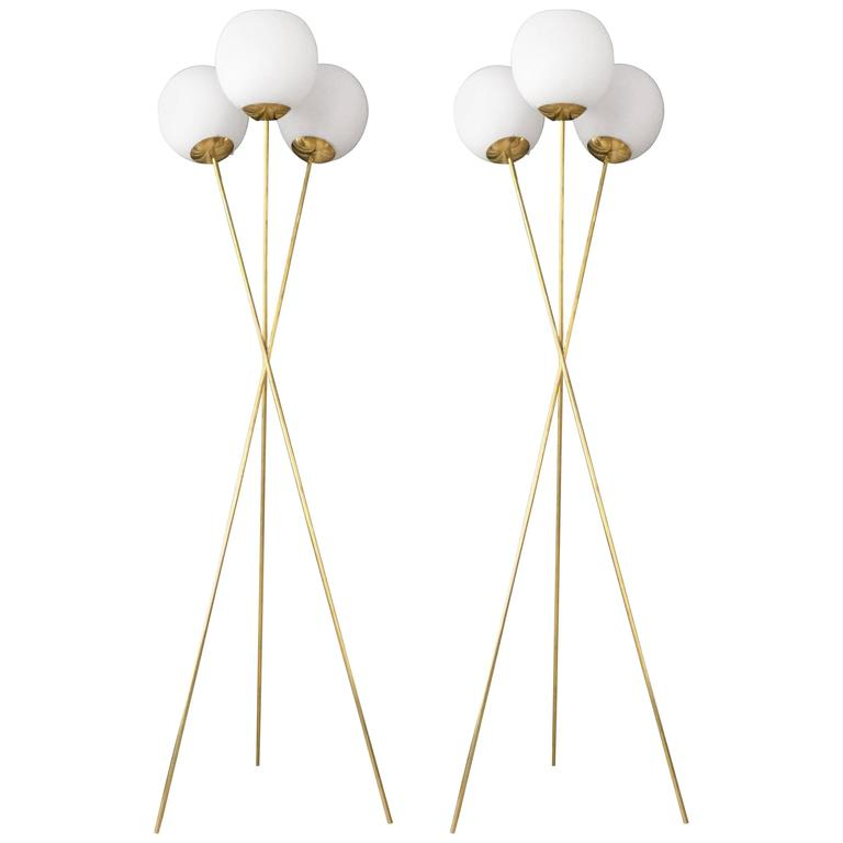 Pair of Italian Tripod Floor Lamps in the Style of Stilnovo