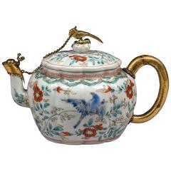 17th Century Japanese Kakiemon Porcelain Teapot with Dutch Silver-Gilt Mounts