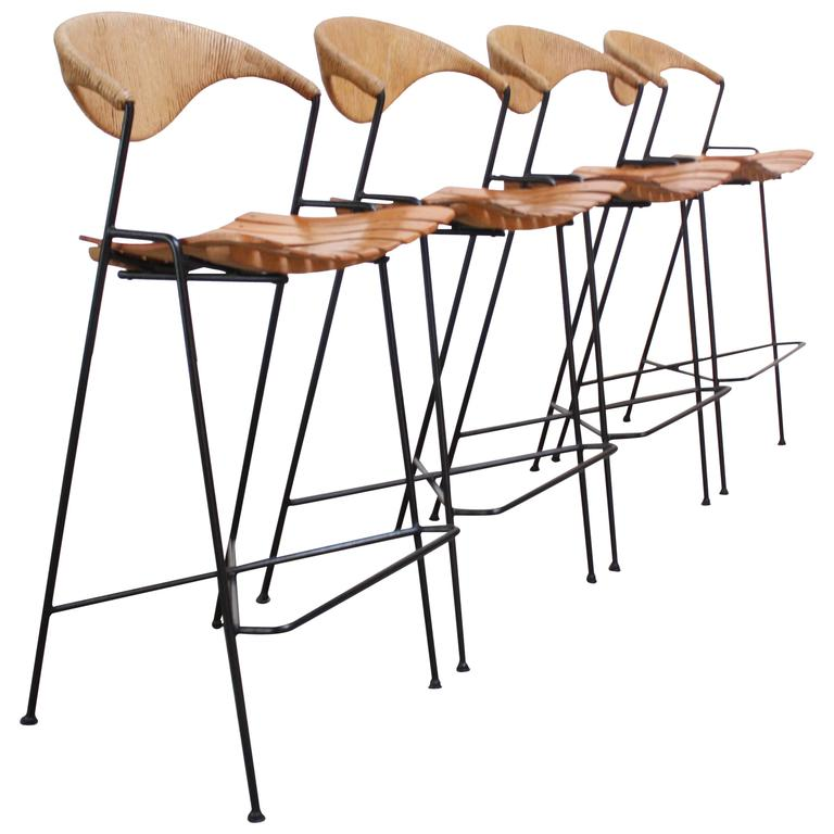 Set Of Four Rush And Iron Stools By Arthur Umanoff For