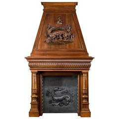 Imposing Walnut Trumeau French 19th Century Chimneypiece