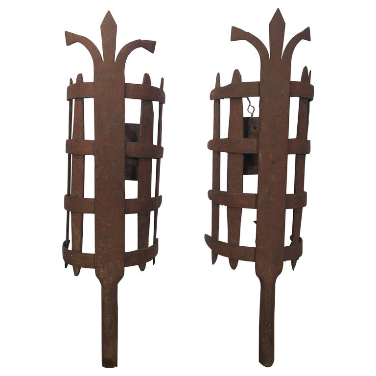 Large Pair of French Wrought Iron Medieval-Style Sconces For Sale