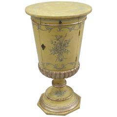 Italian Venetian Parcel Silver Gilt Round Urn Pedestal Stand Side Cabinet Table