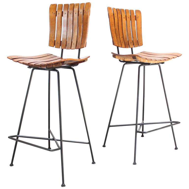 Pair of Iron and Birch-Slat Stools by Arthur Umanoff for Raymor