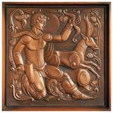 """""""Hunter with Antelope,"""" Striking Art Deco Sculptural Copper Wall Panel"""